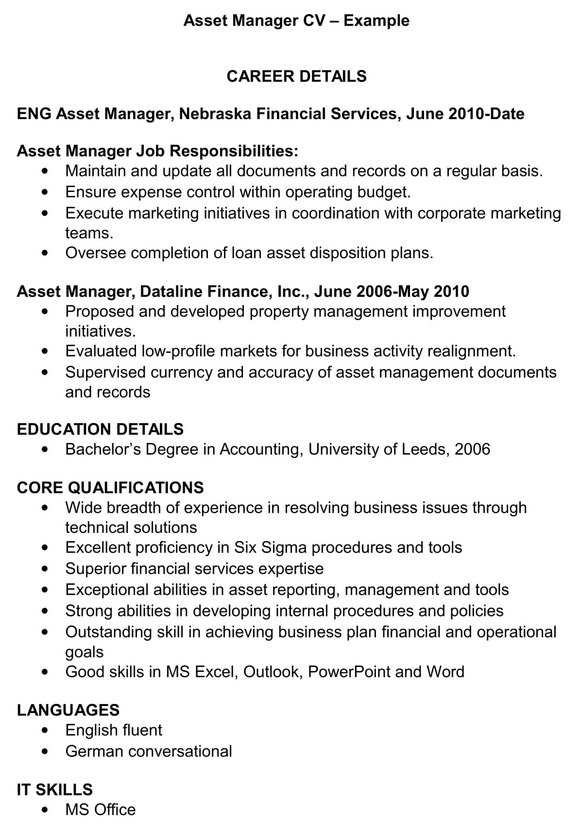 Manager Cv Template from www.renaix.com