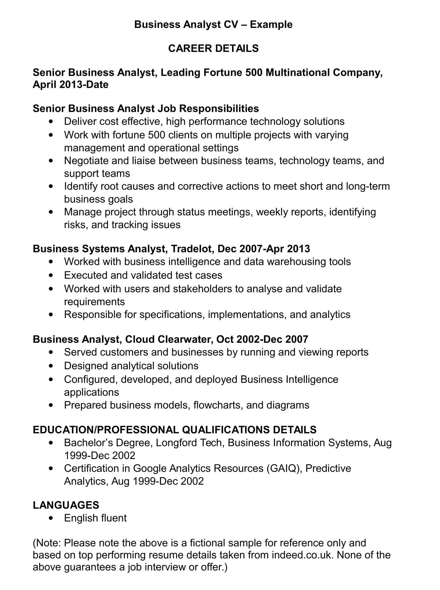Business Analyst Cv Template And Examples Renaix Com