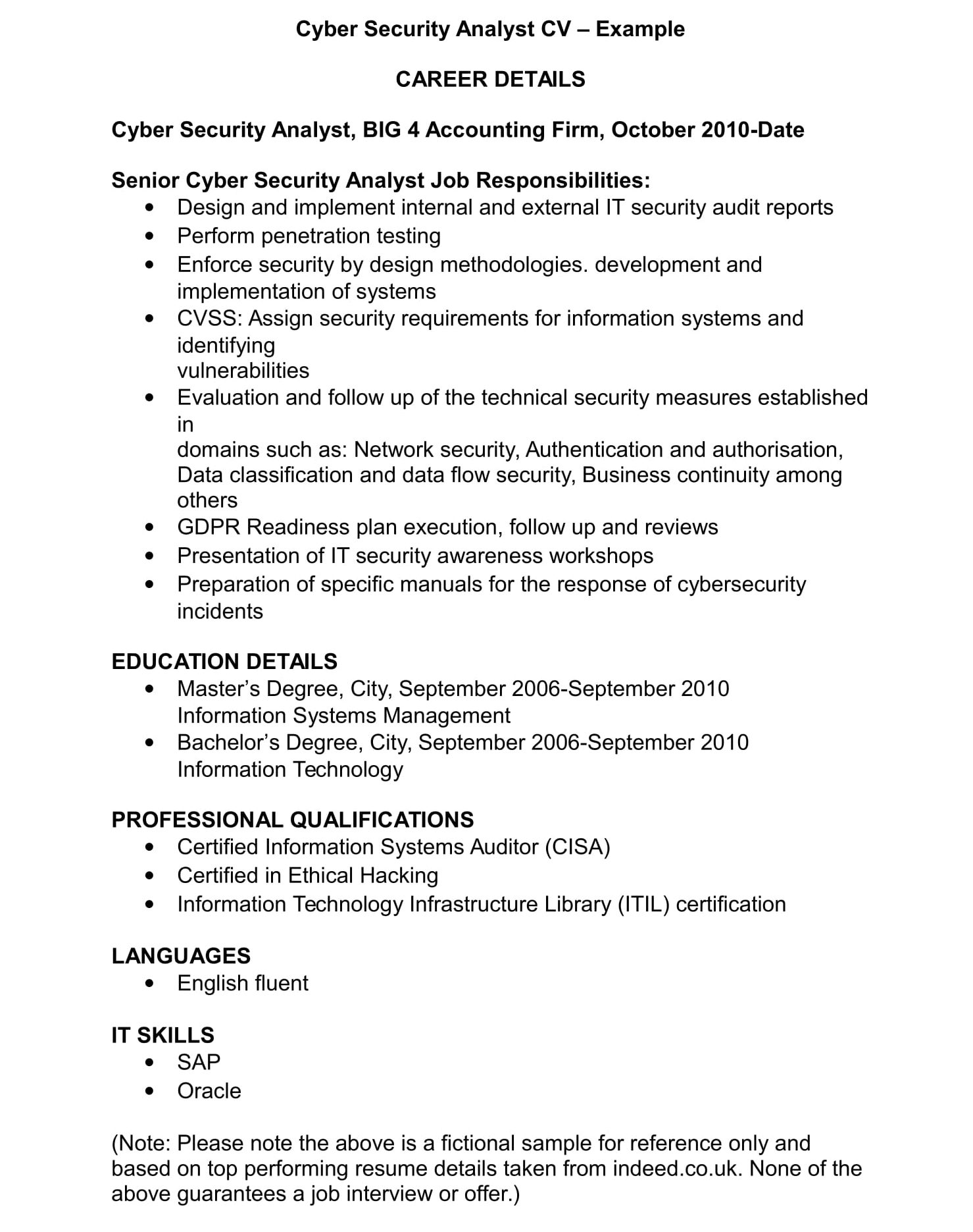 Cyber Security Cv Template And Examples Renaix Com