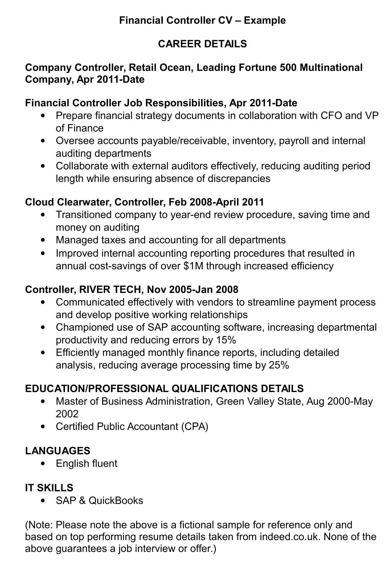 Financial Controller Cv Template And Examples Renaix Com