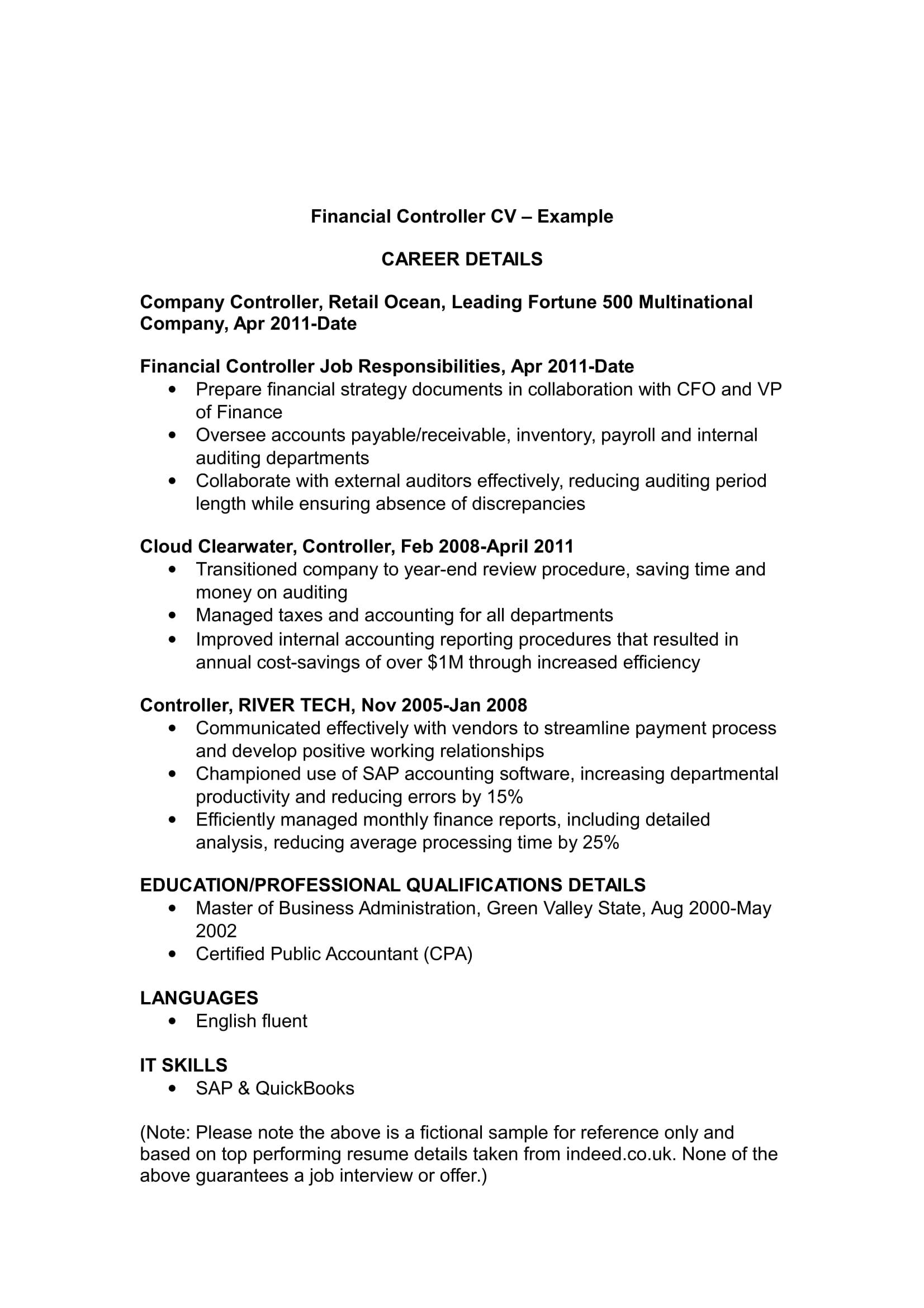 financial controller cv