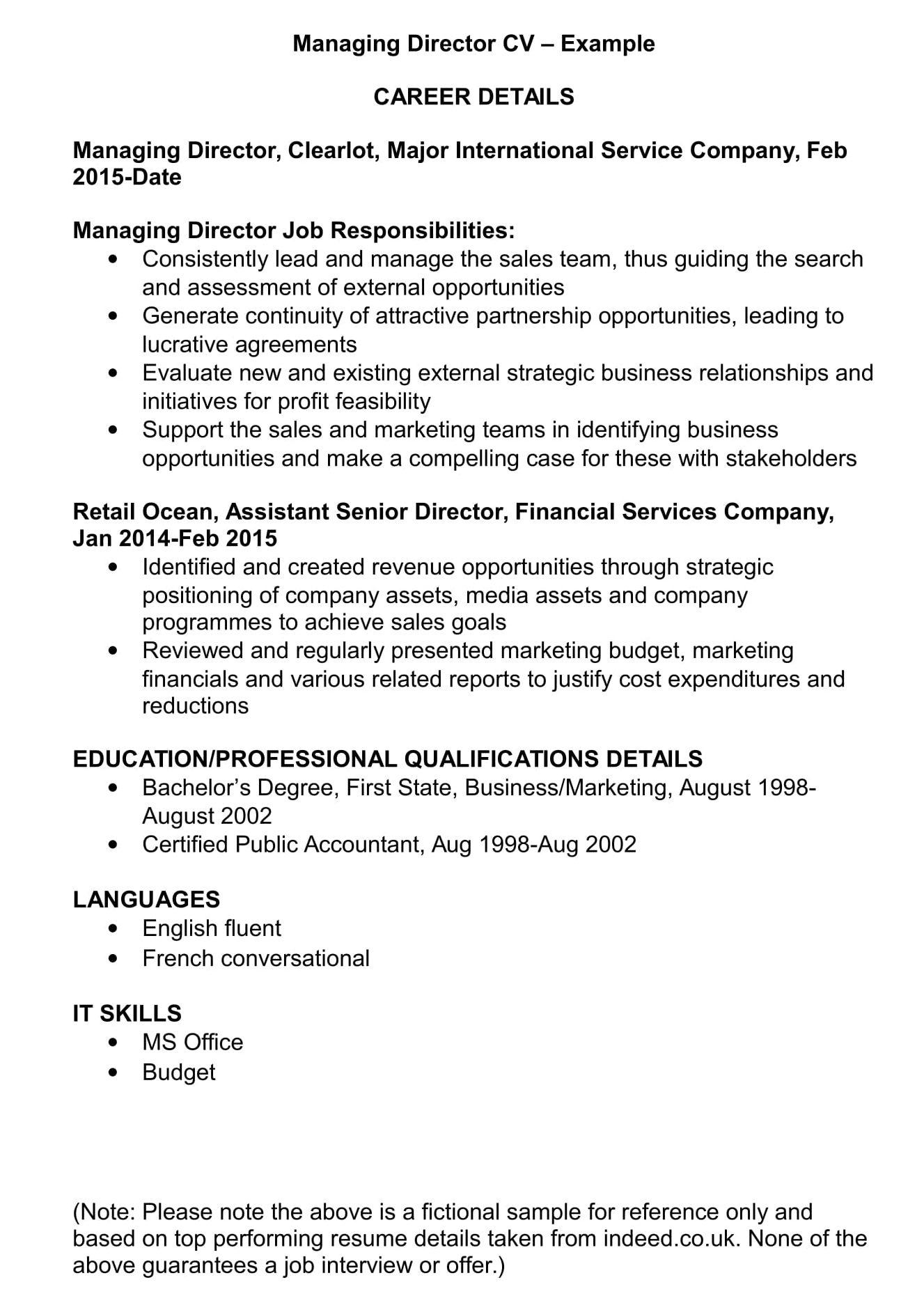 Managing Director Cv Template And Examples Renaix Com