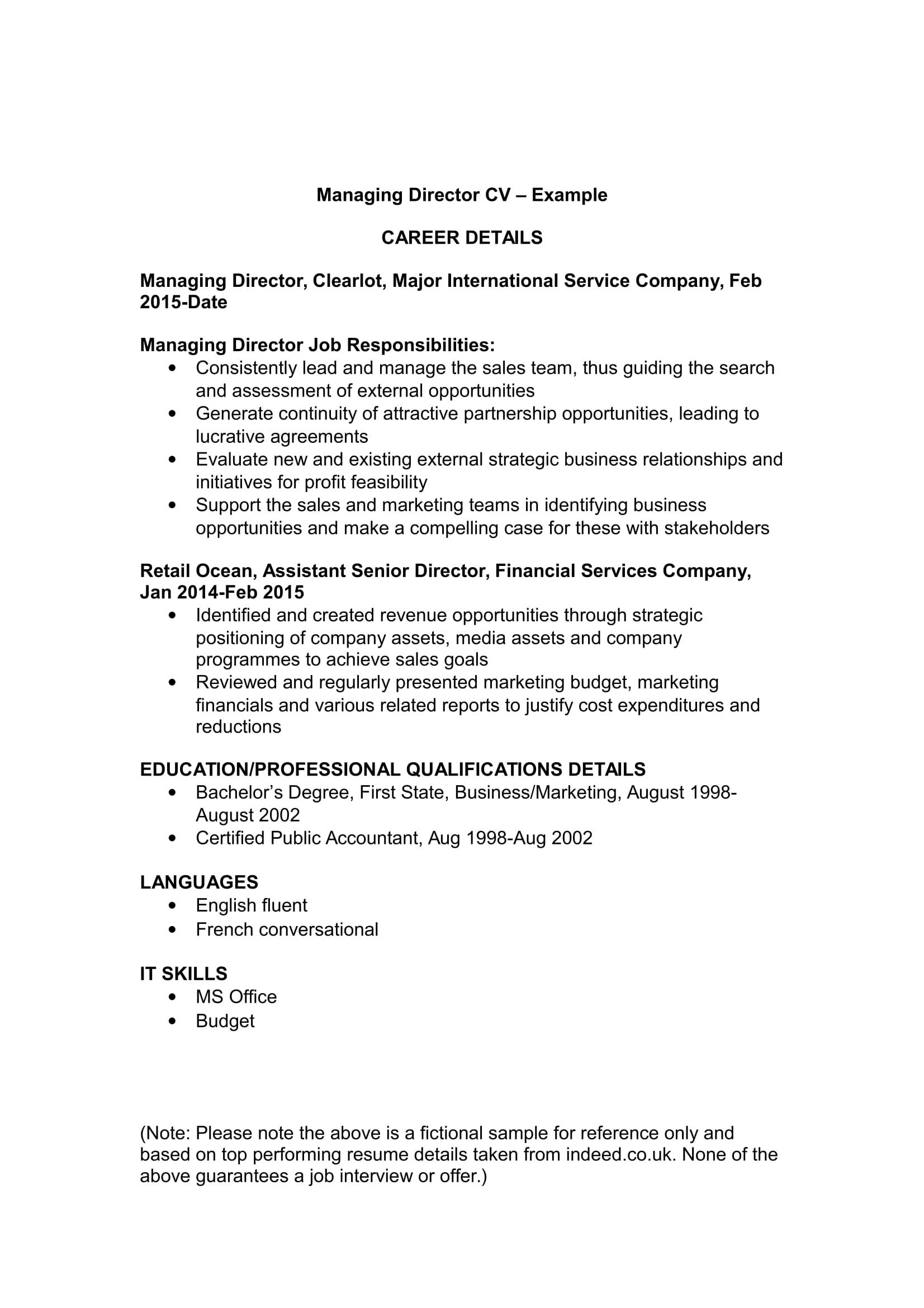 Managing Director CV | Template and Examples | Renaix com