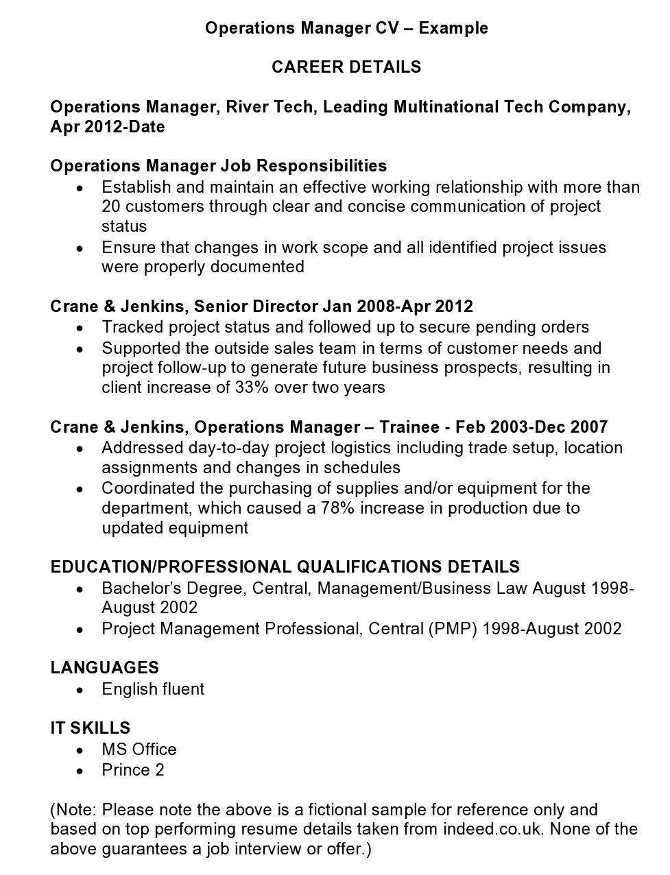 Operations Manager Cv Template And Examples