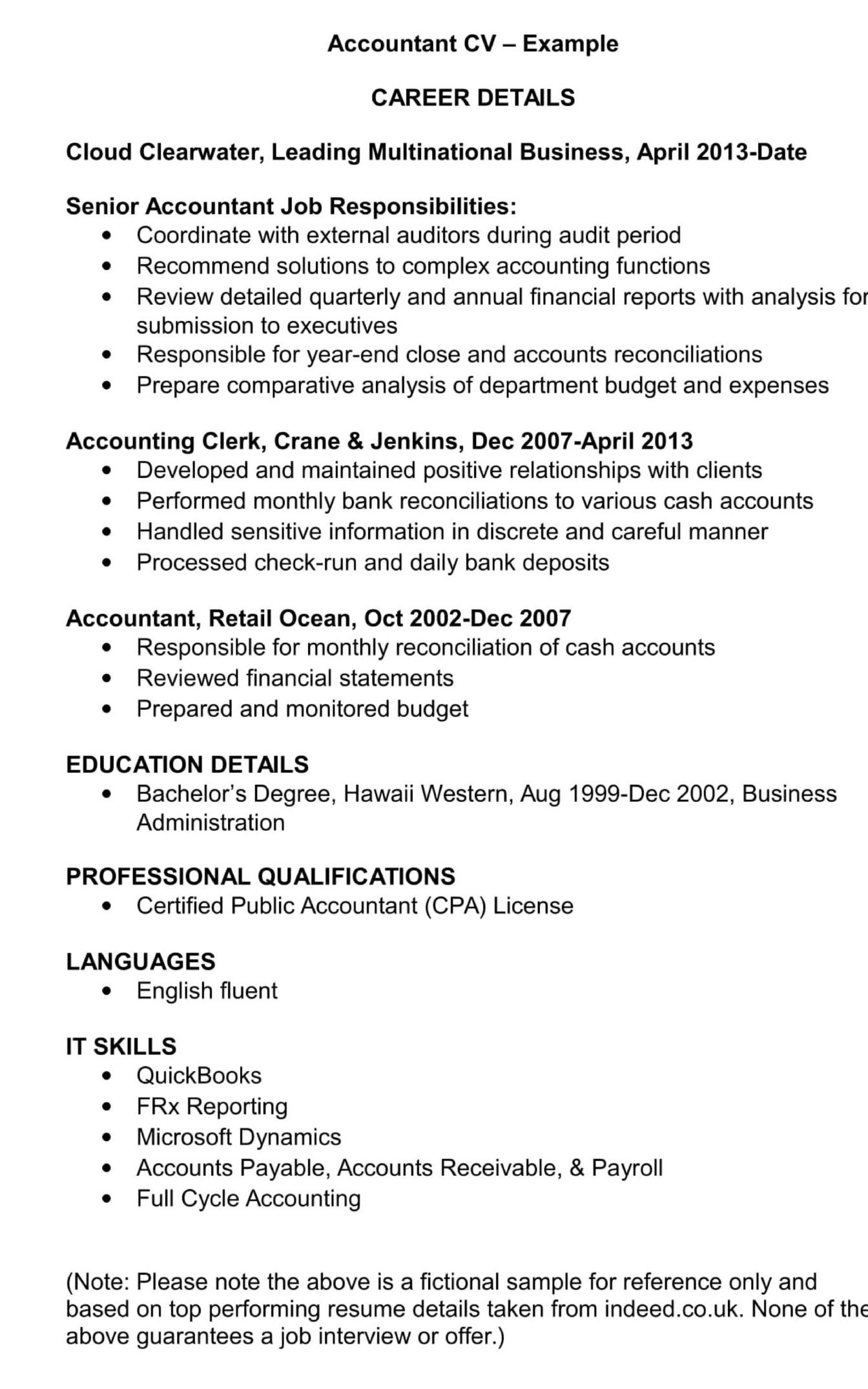 Accountant CV Template And Examples